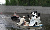Chick-fil-A Cow Fishing in Retaining Wall Pond