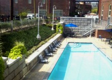 Concrete pavers, retaining wall and swimming pool