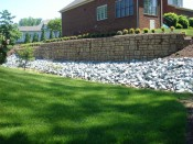 Retaining wall complete with landscaping